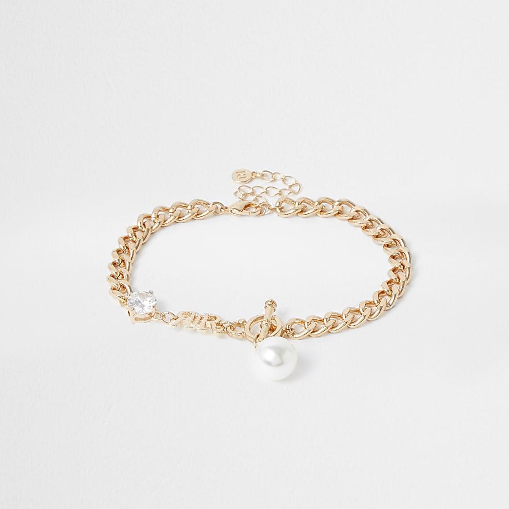 Gold colour chain 'RIR' embellished anklet