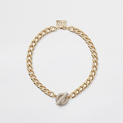 Gold colour chain t bar necklace