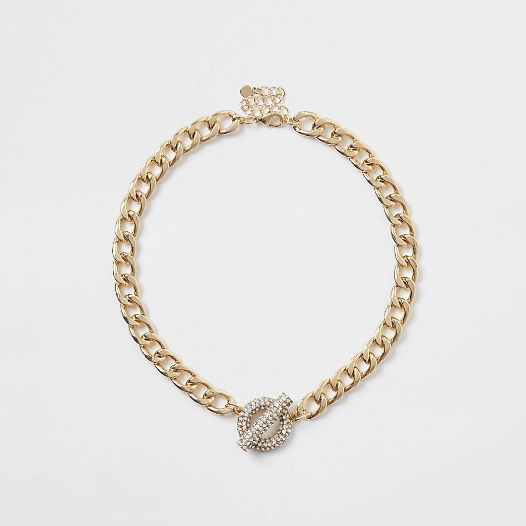 Gold colour chain t bar necklace