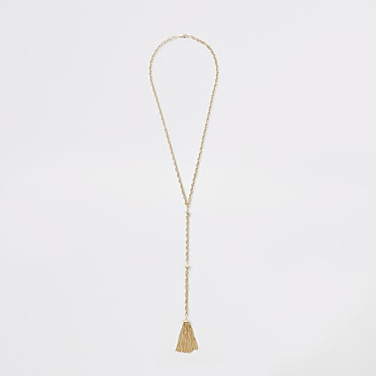 Gold colour chain tassel necklace