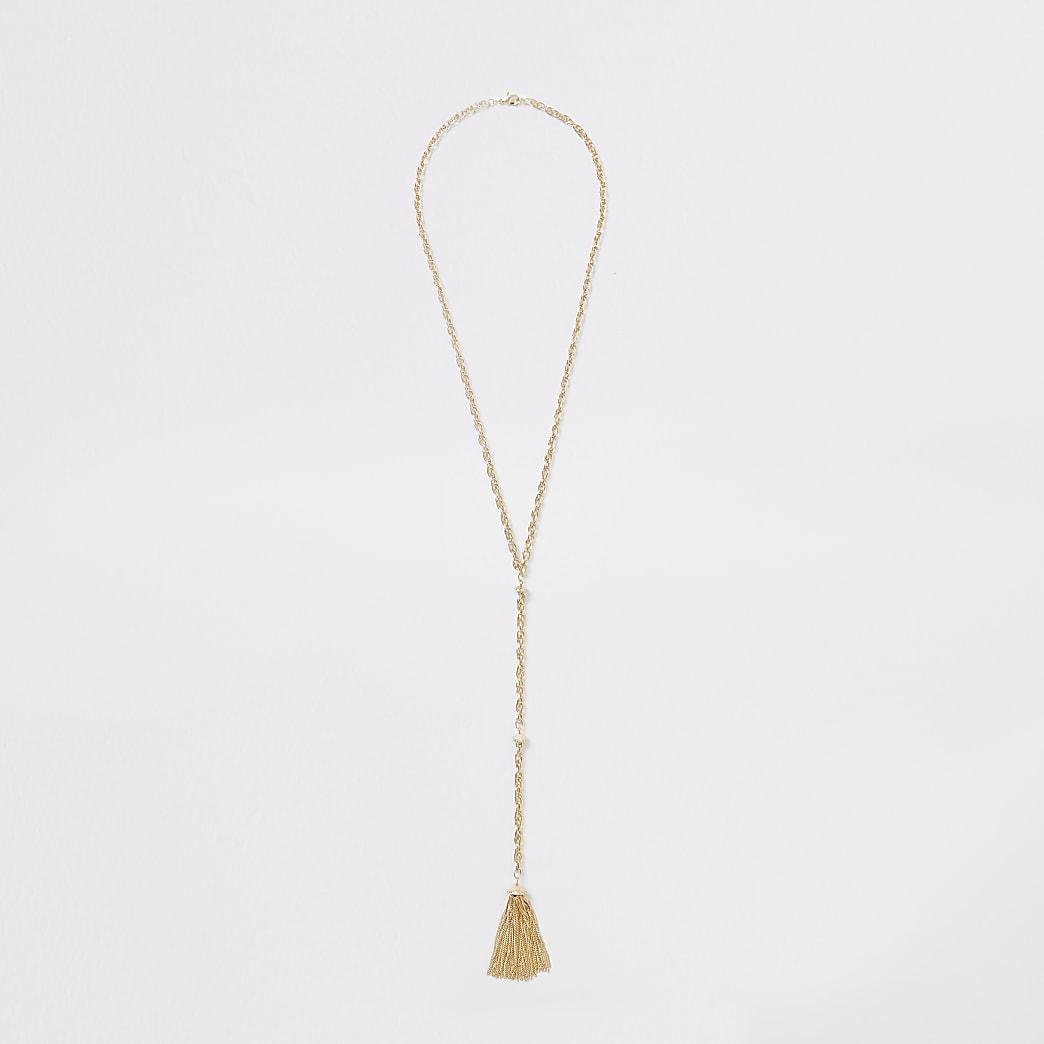 Gold colour chain tassel necklace