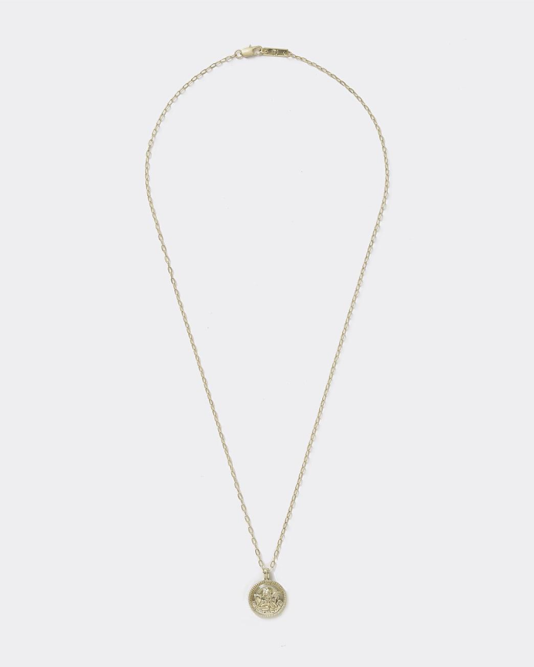 Gold colour cherub disk necklace