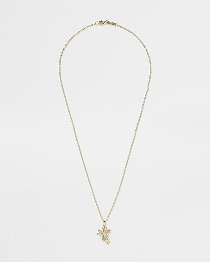 Gold colour cherub pendant necklace