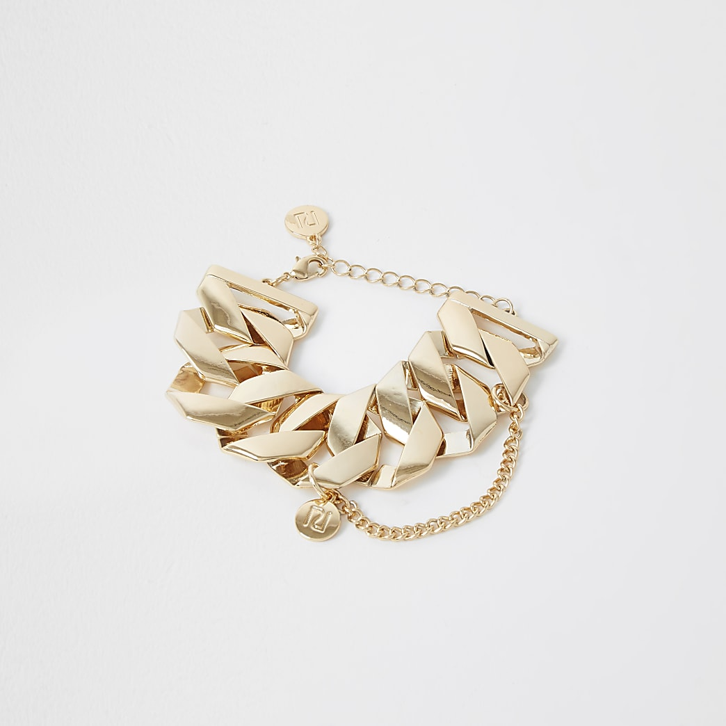Gold colour chunky chain cuff bracelet