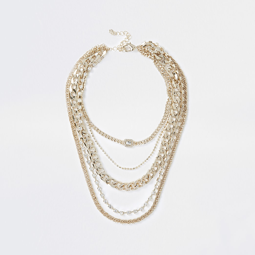 Gold colour chunky chain diamante necklace