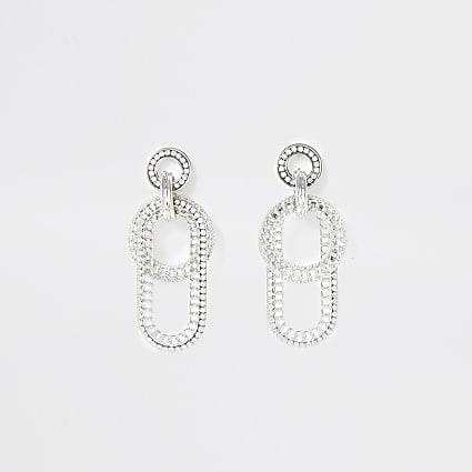 Gold colour chunky chain drop earrings