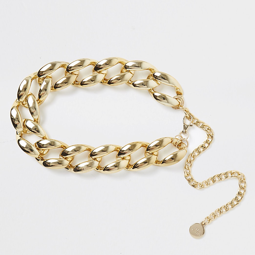 Gold colour chunky chain waist belt