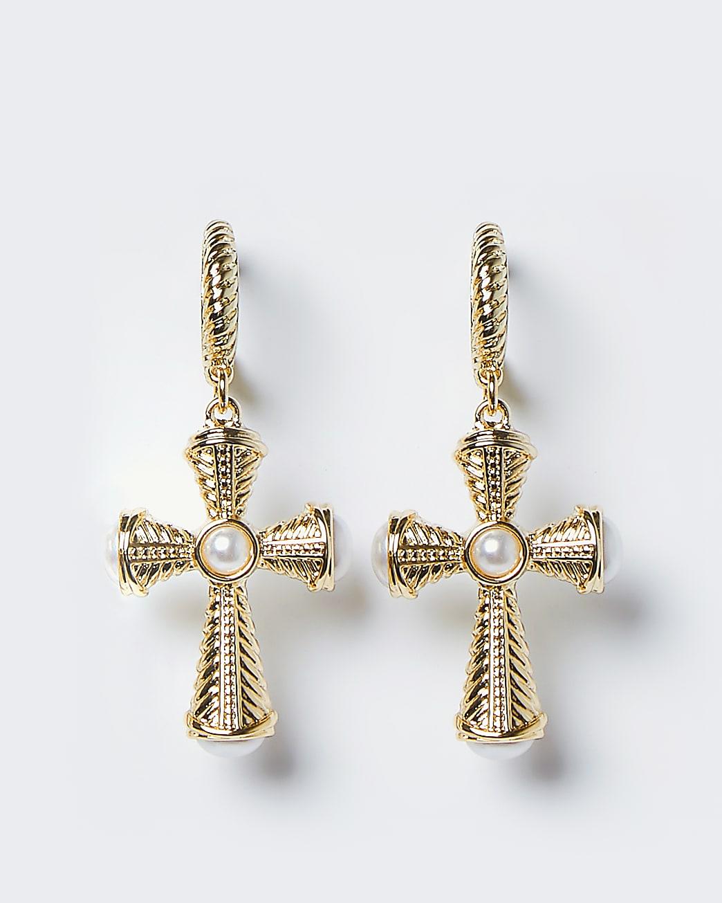 Gold colour chunky cross drop hoop earrings