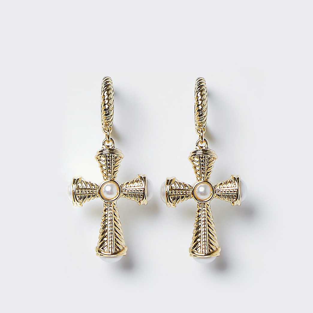 Gold colour chunky cross drop hoop earrings