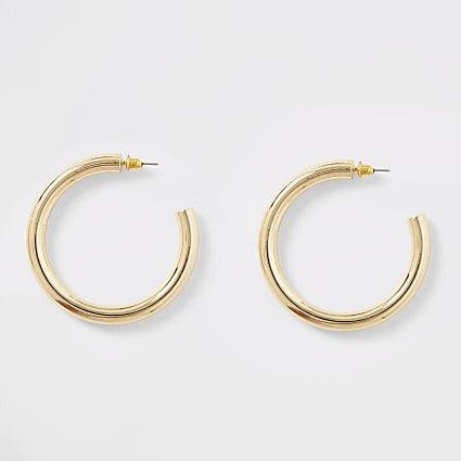Gold colour chunky hoop earrings