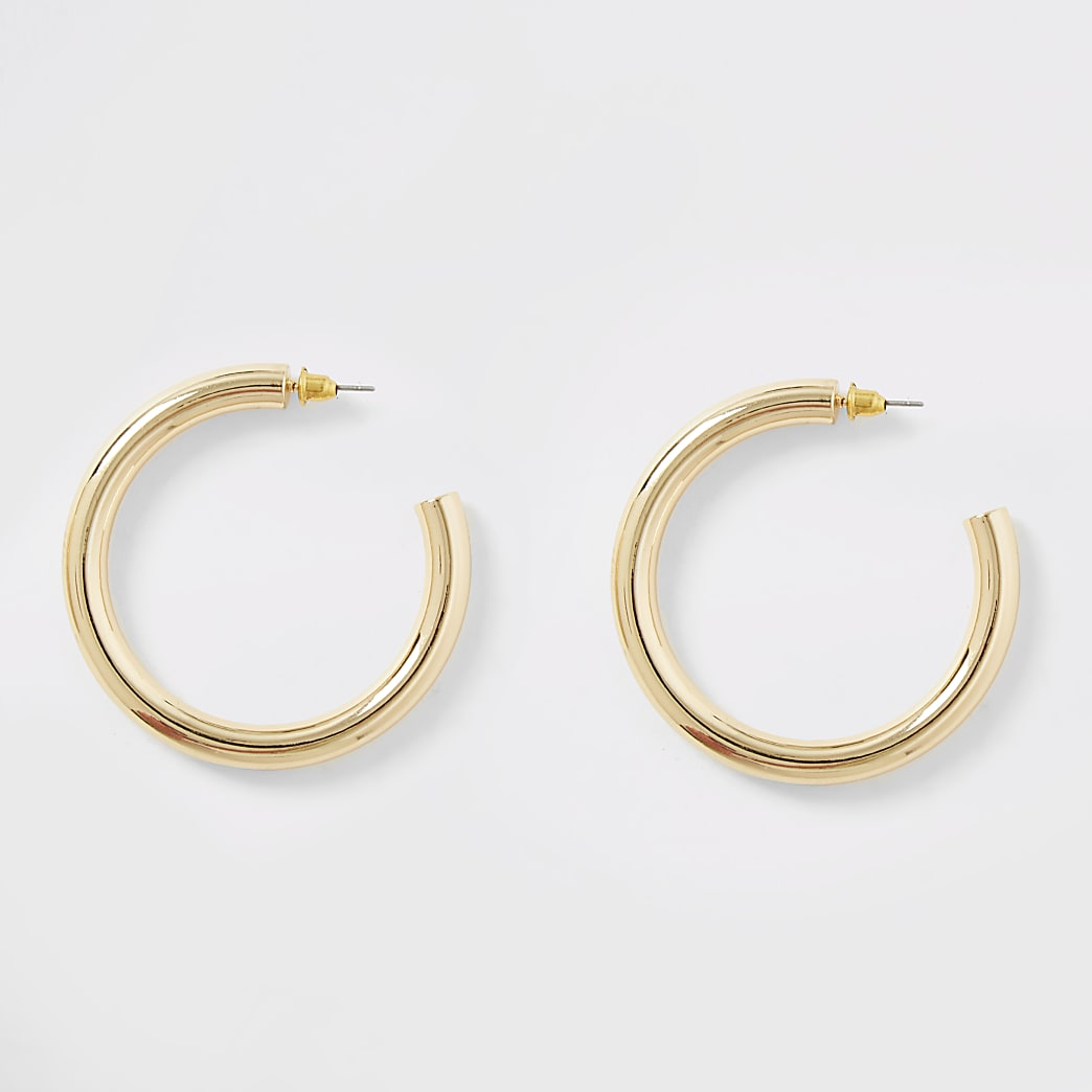 Gold colour chunky hoop earrings