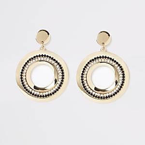 Gold colour circle dangle earrings