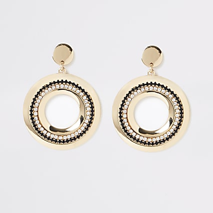 Gold colour circle dangle earrings