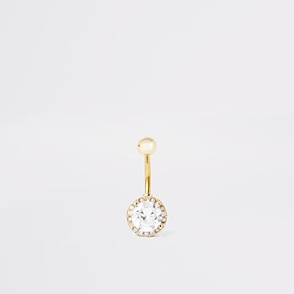 Gold colour circle diamante belly bar