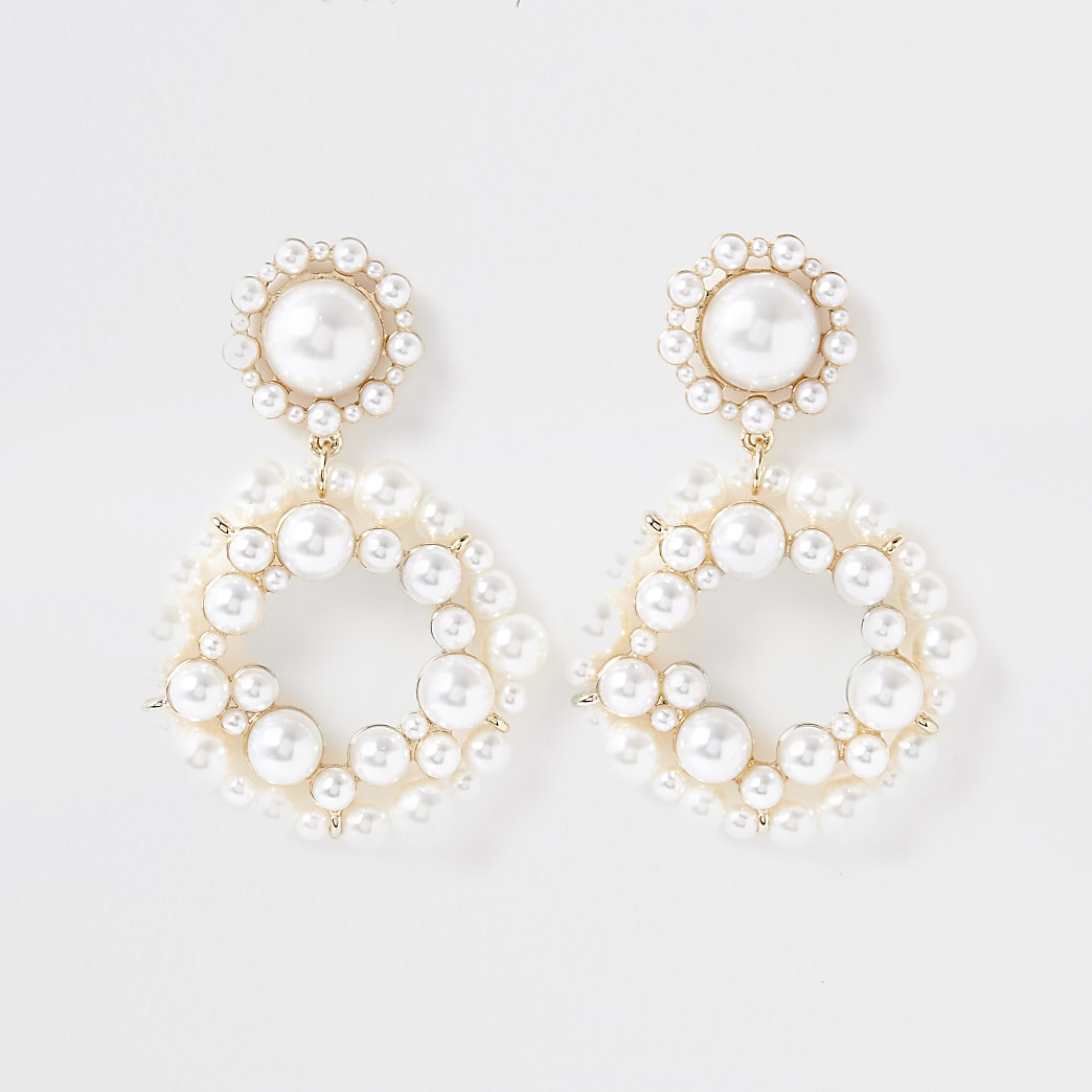 Gold colour cluster pearl ring drop earrings