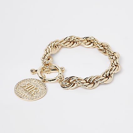 Gold colour coin pendant bracelet