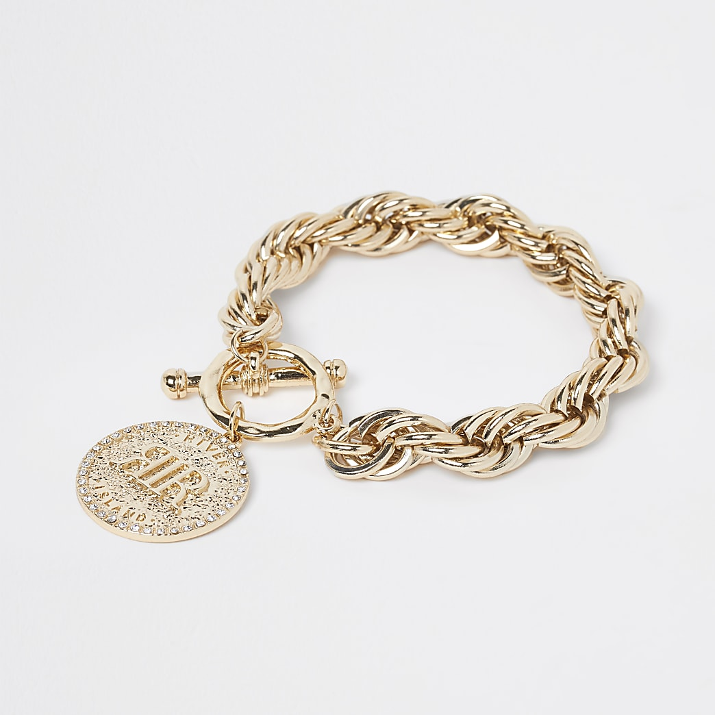 Gold colour coin pendant bracelet