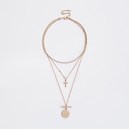 Gold colour cross and coin layered necklace