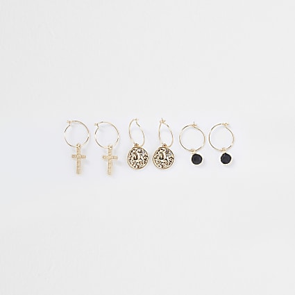 Gold colour cross coin drop earrings 3 pack