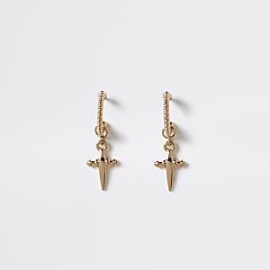 Créoles dorées avec pendentif croix