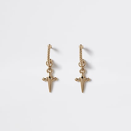 Gold colour cross drop hoop earrings
