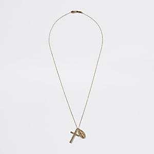 Goldfarbene Halskette mit Kreuzanhänger