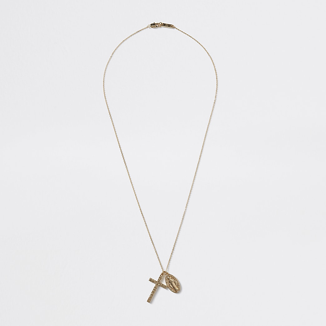 Gold colour cross pendant necklace