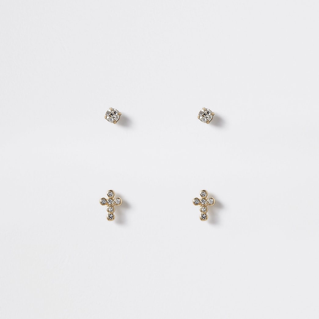 Gold colour cross stud earrings 2 pack