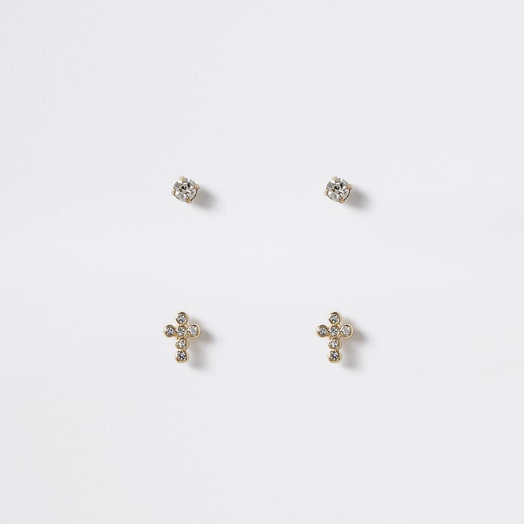 Set van 2 goudkleurige oorknopjes in kruisvorm