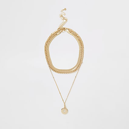 Gold Colour Curb Chain Layer Necklace