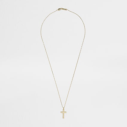 Gold colour detail cross necklace