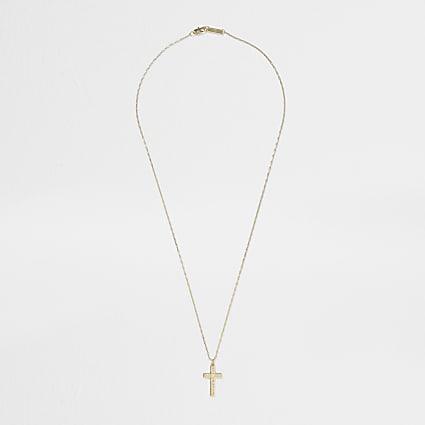 Gold colour detail cross necklace