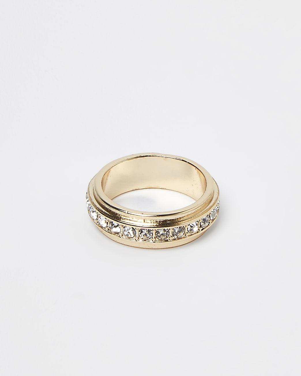 Gold colour diamante band ring