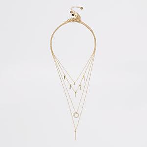 Mehrreihige Halskette in Gold mit Strassanhänger