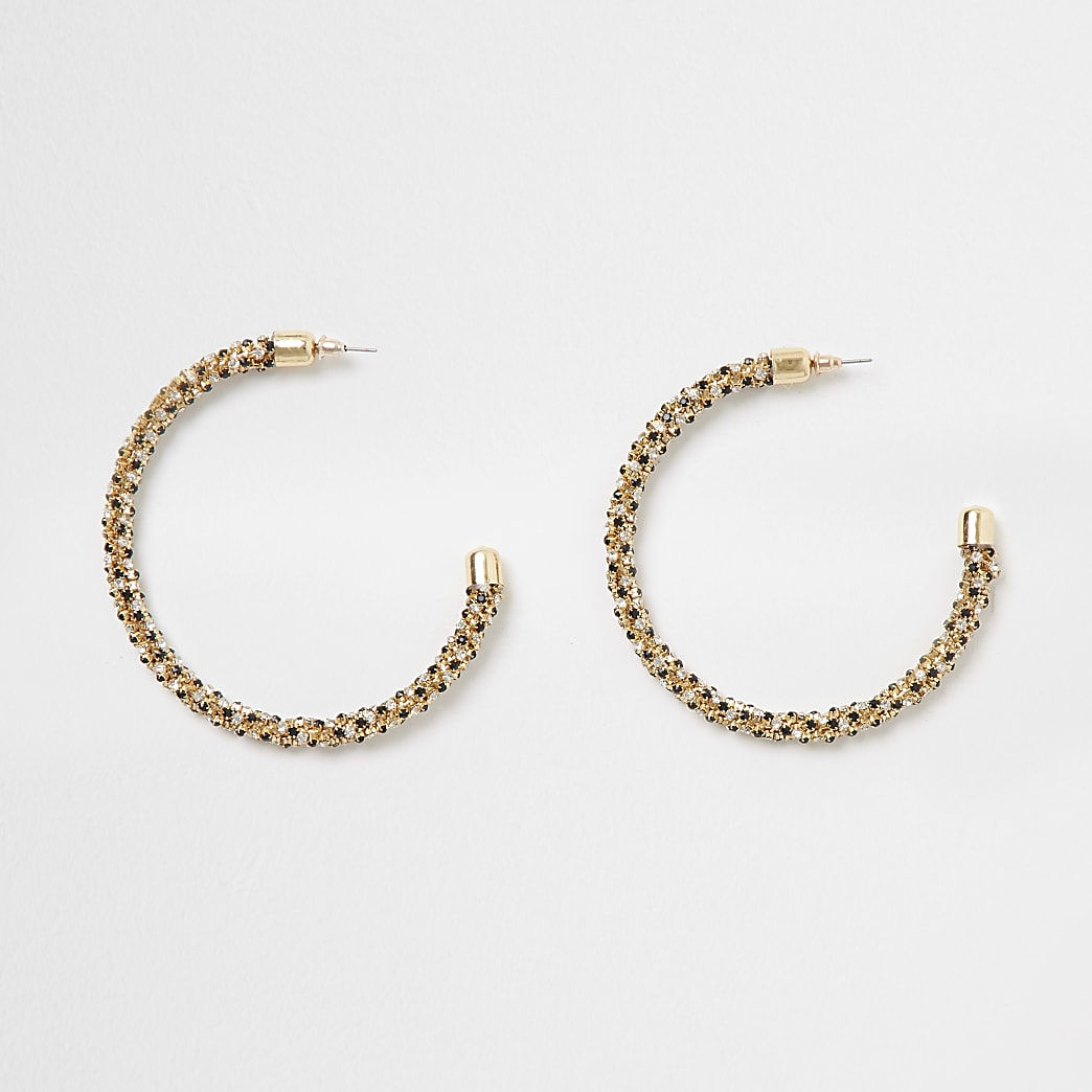Gold colour diamante bobble rope hoops
