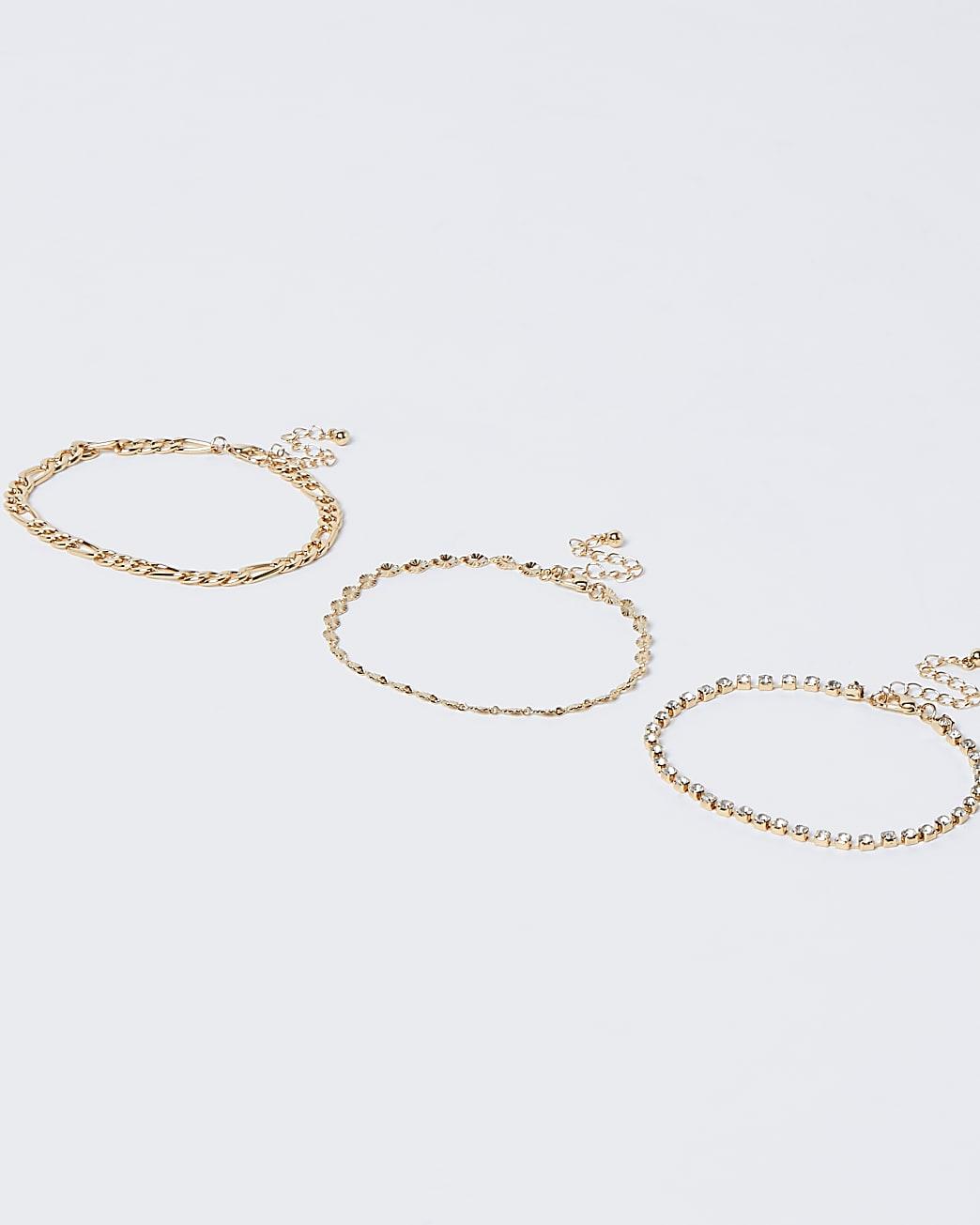 Gold colour diamante chain anklet 3 pack