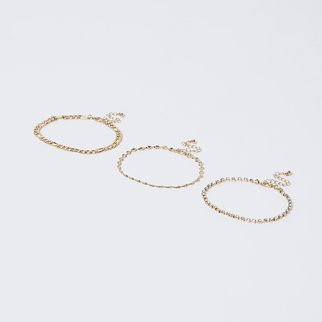 Gold colour diamante chain anklet 3 pack
