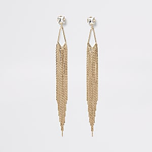 Gold colour diamante chain drop earrings