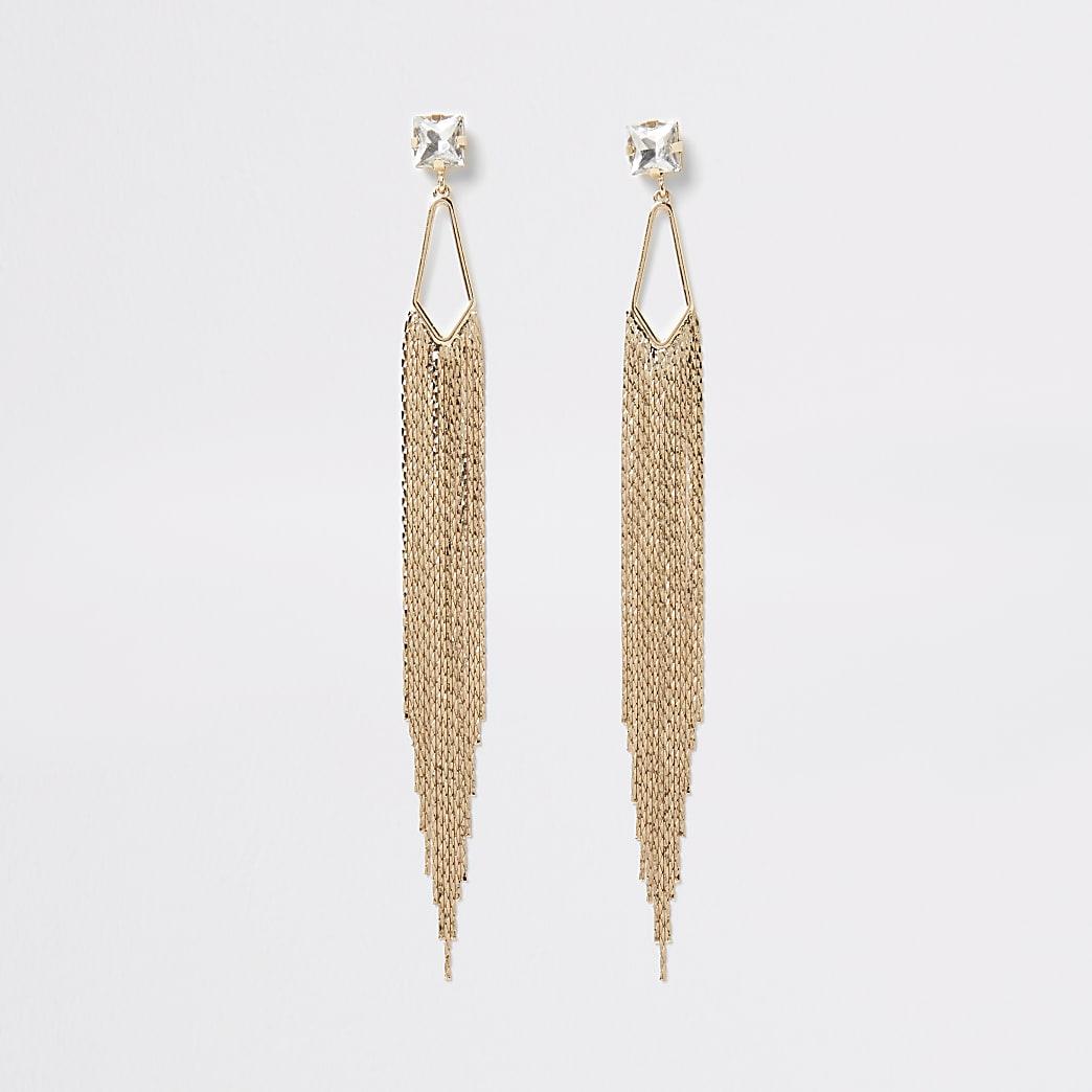 Gold colour diamante chain drop earrings