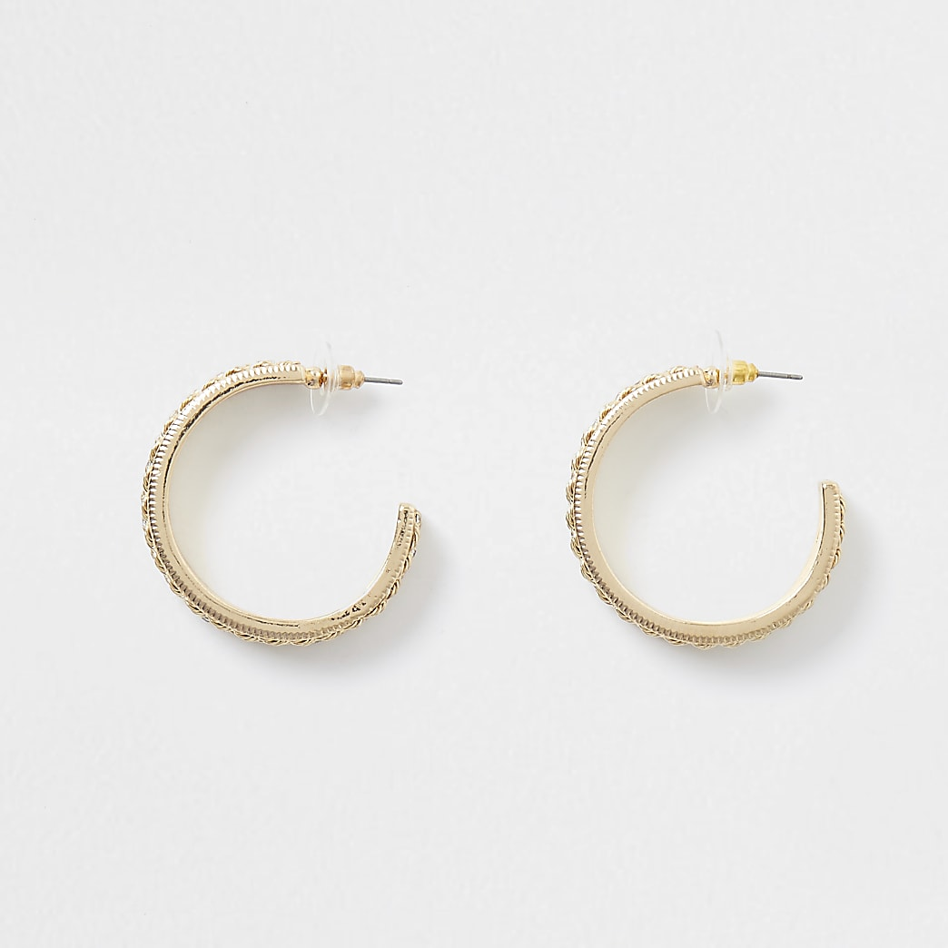 Gold colour diamante chain hoop earrings