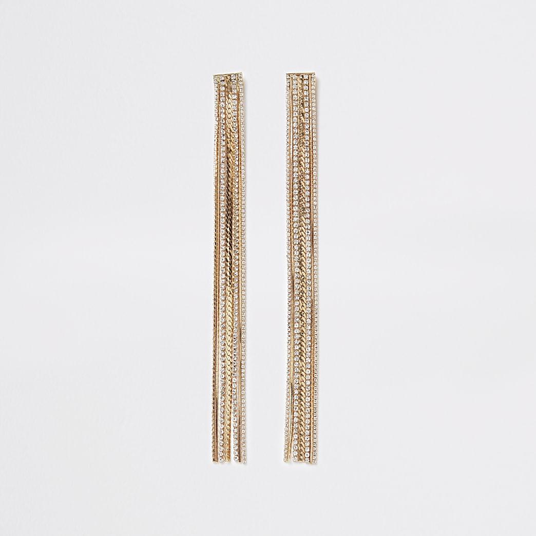 Gold colour diamante chain tassel earrings