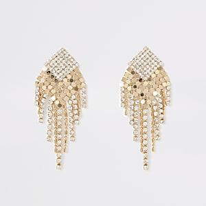 Gold colour diamante chainmail drop earrings