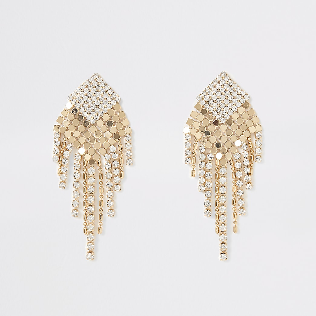 Gold colour diamante chainmail drop earrings
