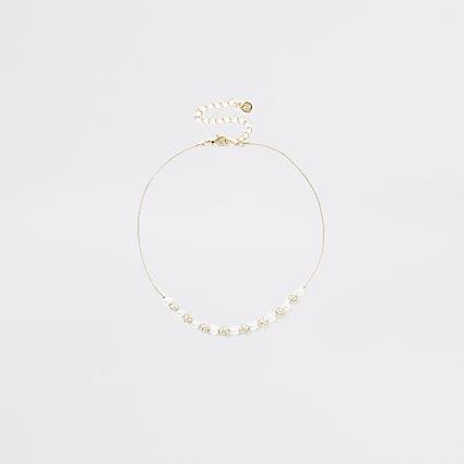 Gold colour diamante choker necklace