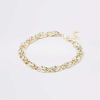 Gold colour diamante chunky chain anklet