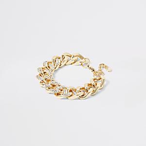 Goudkleurige armband met siersteentjes en stevige ketting