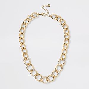 Robuste, mit Schmucksteinen besetzte Halskette in Roségold