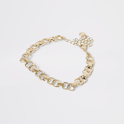 Gold colour diamante circle anklet