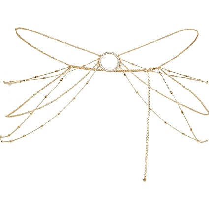 Gold colour diamante circle belly chain