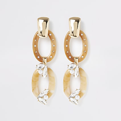 Gold colour diamante cluster drop earrings